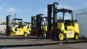 Forklifts on a flatbed