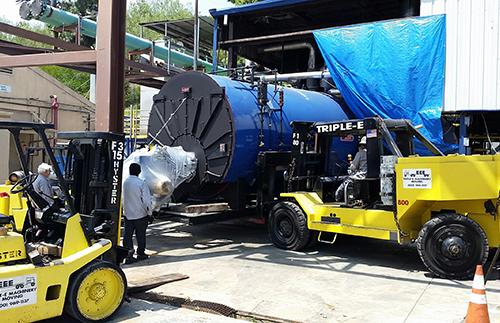 Industrial boiler being delivered