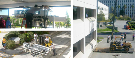 Moving Office Equipment through a second story window.