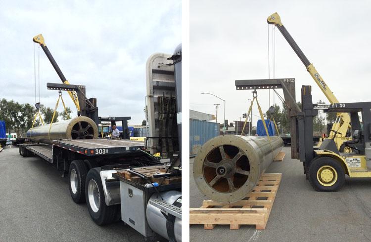 Mandrel Roll being moved to skids at Triple-E Machinery Moving