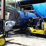 Industrial boiler being delivered